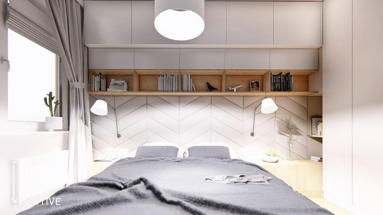 Sypialnia w stylu scandi w kolorze białym i szarym