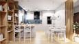 Kuchnia i jadalnia w stylu skandynawskim w kolorze białym