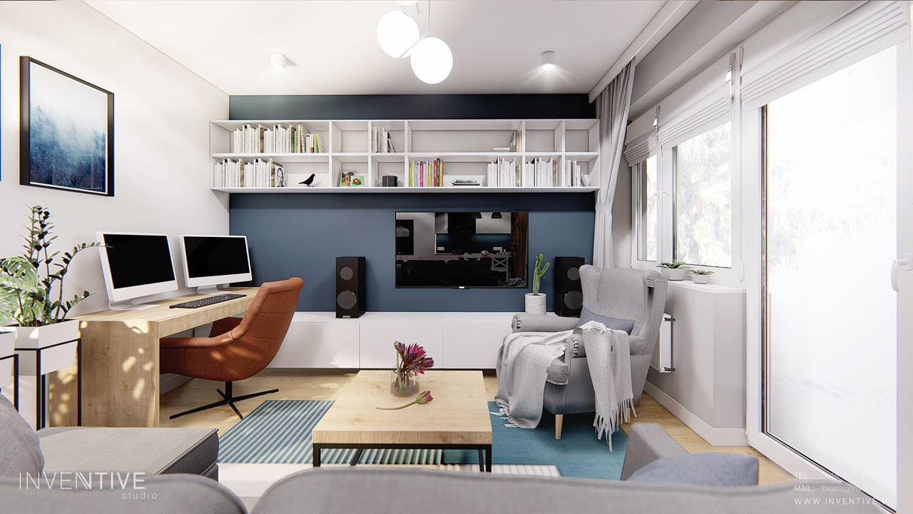 Salon z miejscem na domowe biuro