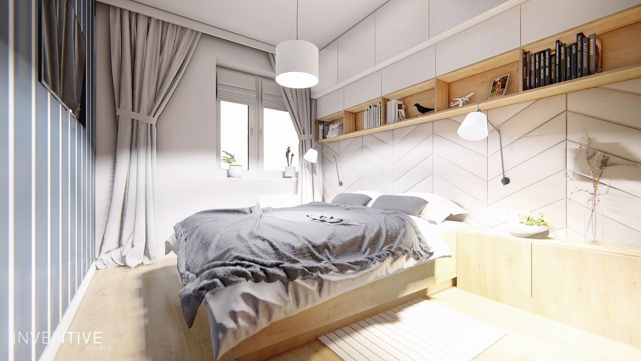 Sypialnia szaro-biała z drewnianymi dodatkami