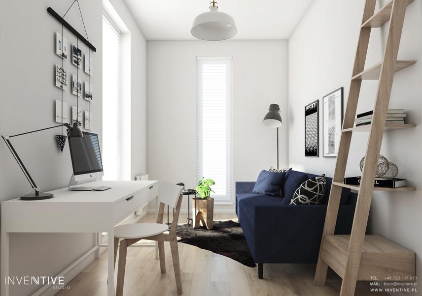 Mały salon z miejscem do pracy