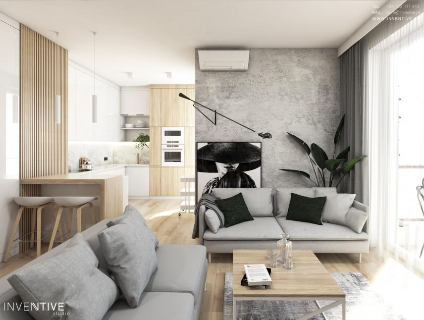 Aranżacja salonu ze ścina w betonie dekoracyjnym