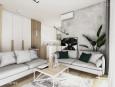Projekt salonu ze ścianą w betonie dekoracyjnym