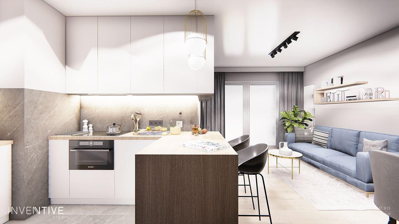 Salon z kuchnią i modnym oświetleniem