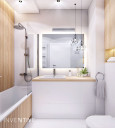 Biała łazienka z elementami drewna