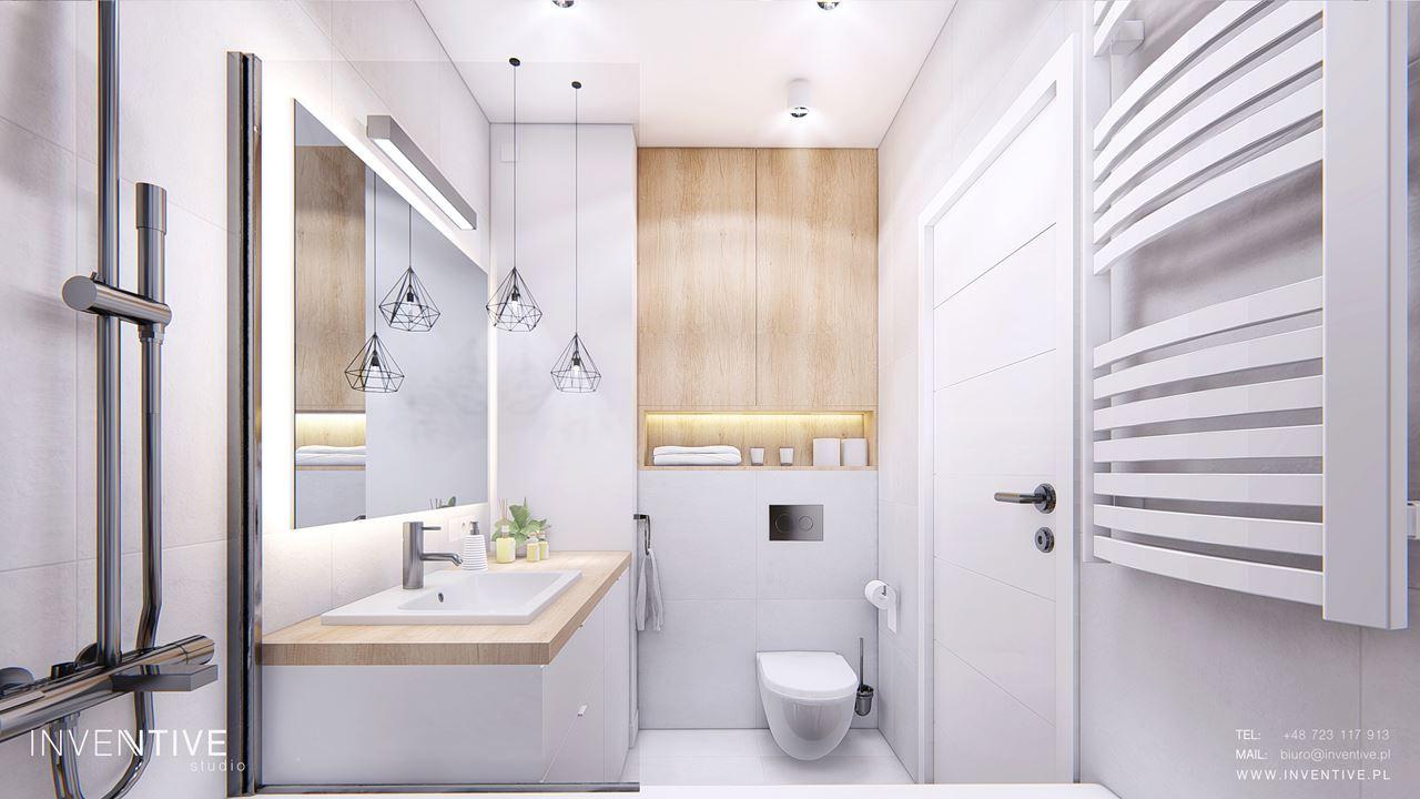 Biała łazienka  w w stylu scandi