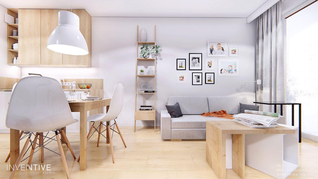 Mały salon z jadalnią w stylu scandi