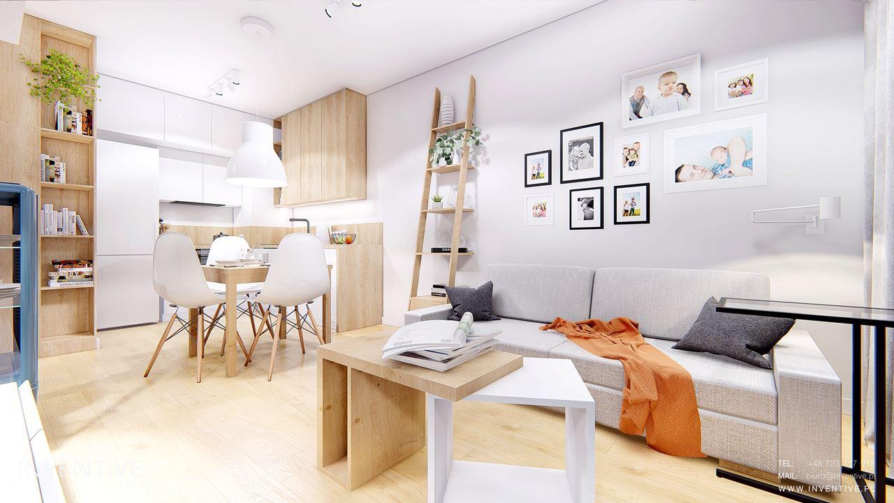 Mieszkanie w stylu skandynawskim z salonem i jadalnią