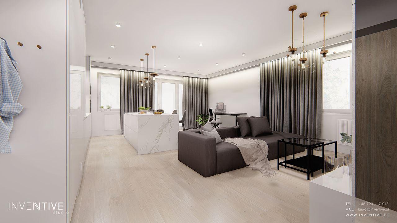 Salon w stylu glamour z szarą sofą