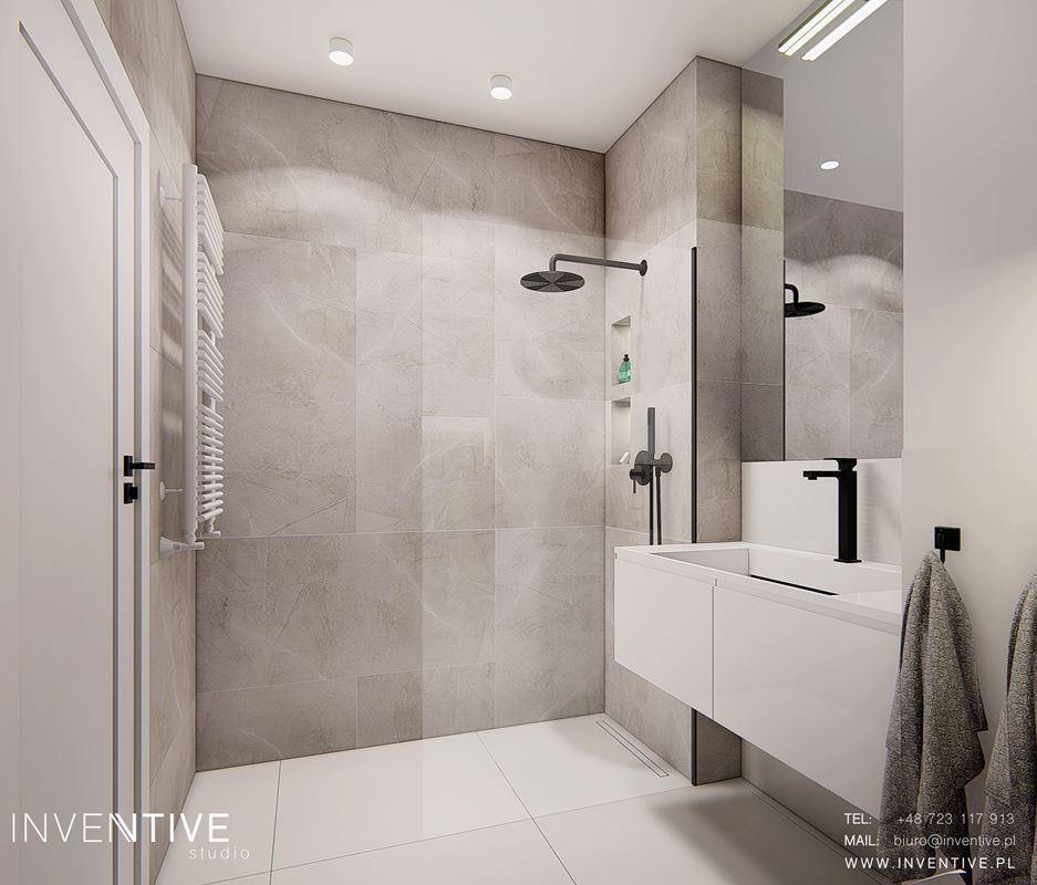 Projekt łazienki z prysznicem walk - in