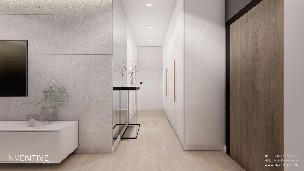 Projekt korytarza z białą szafą