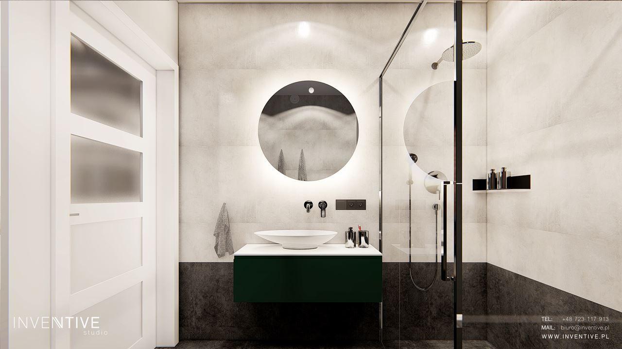 Elegancka łazienka z kaflami imitującymi beton