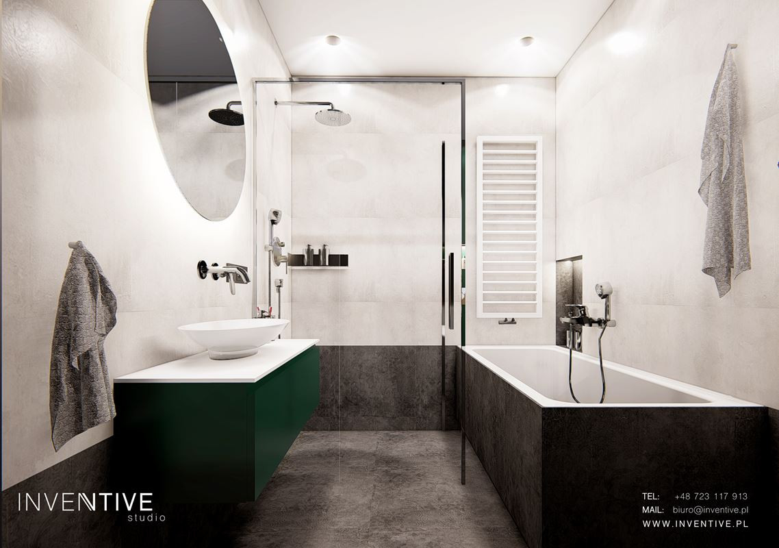 Stylowa łazienka  betonowo-granitowa