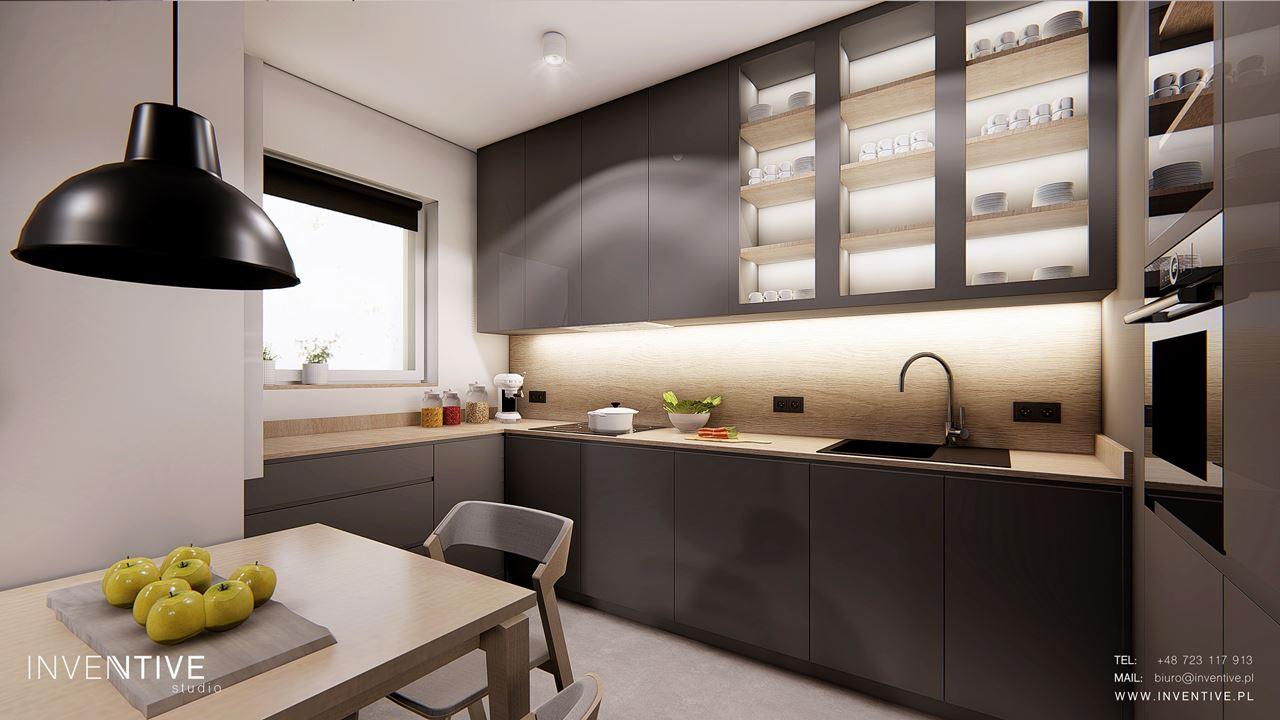 Szara kuchnia z betonową podłogą