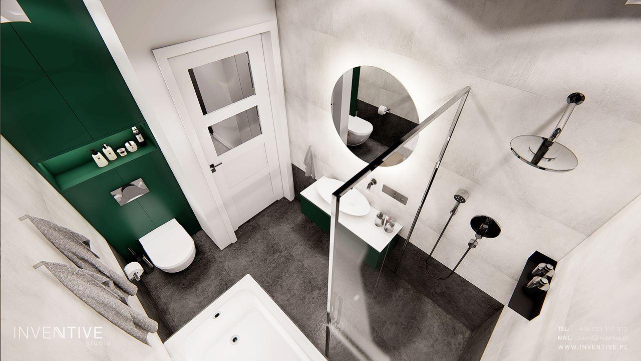 Designerska łazienka szaro-zielona