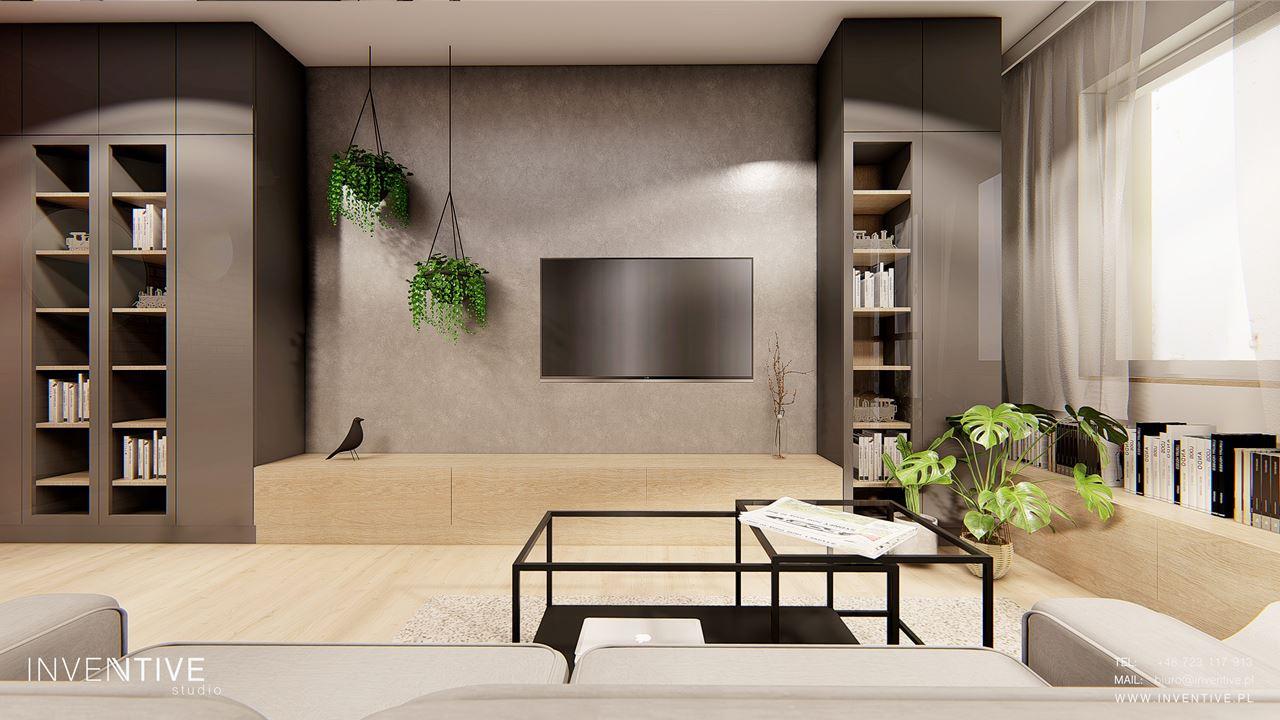 Loftowy salon ze ścianą z betonu dekoracyjnego