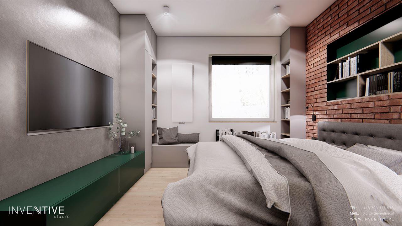 Loftowa sypialnia z telewizorem