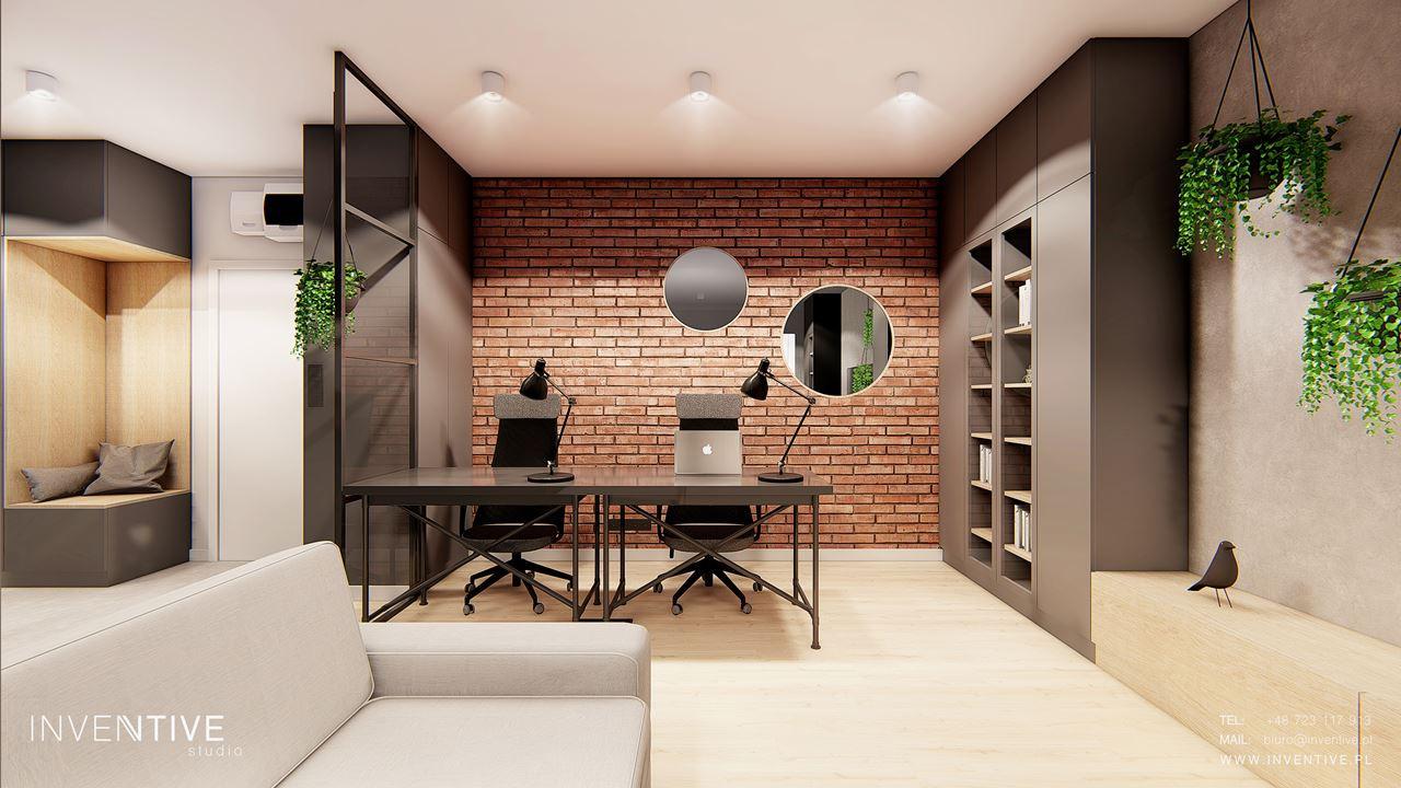 Biuro w stylu loft z cegłą na ścianie