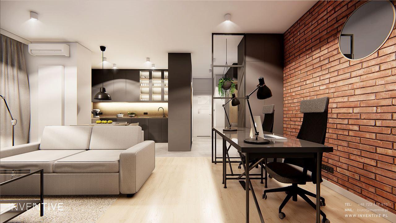 Salon połączony z kuchnią i miejscem do pracy