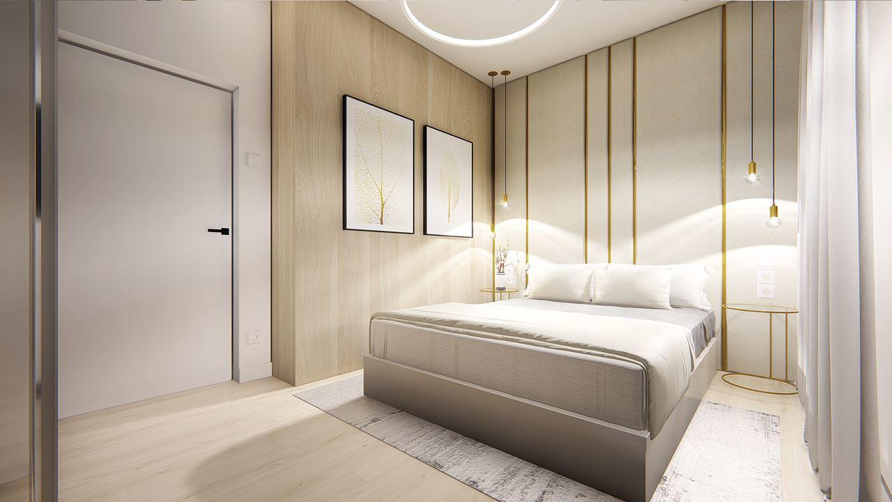 Sypialnia z drewnianą ścianą