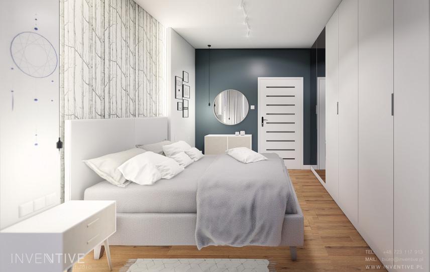 Sypialnia z tapetą na ścianie