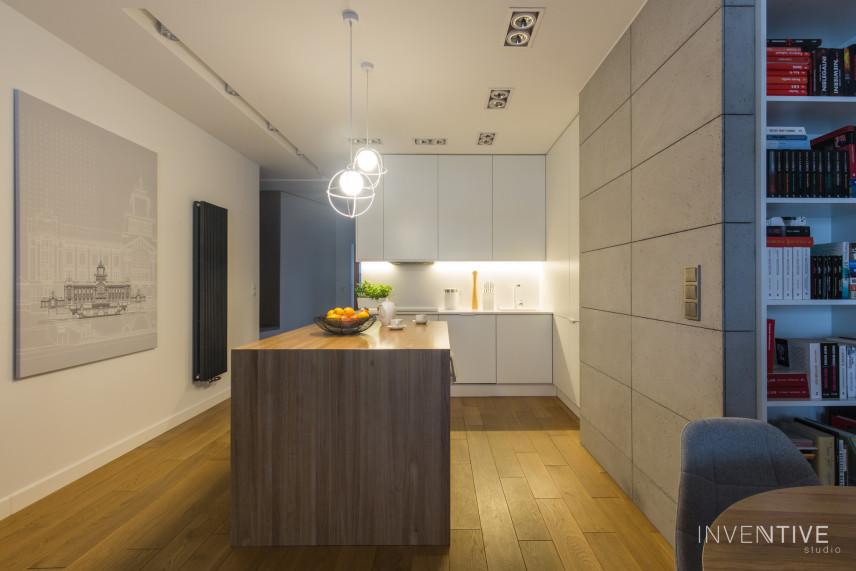 Projekt kuchni połączonej z korytarzem