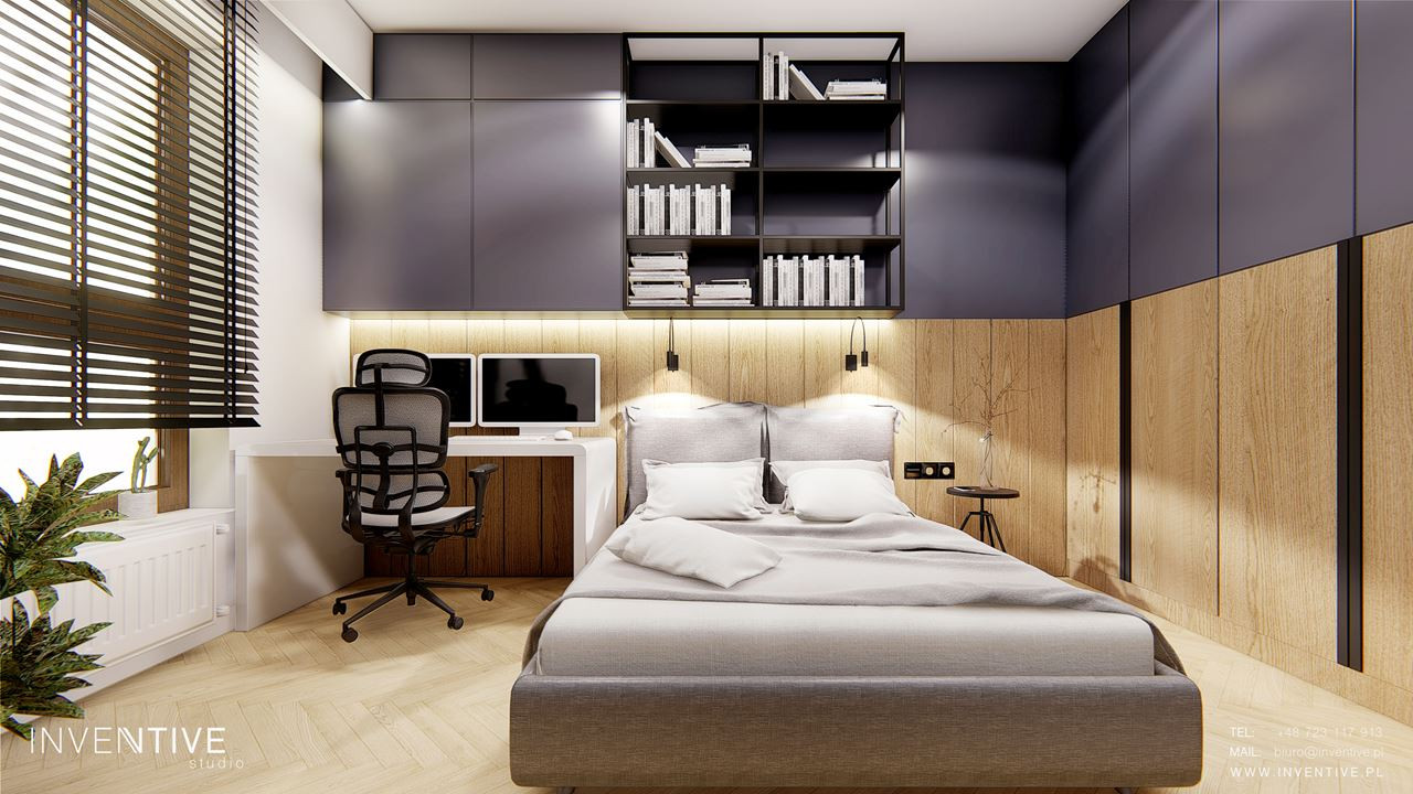 Aranżacja sypialni z boazerią na ścianie