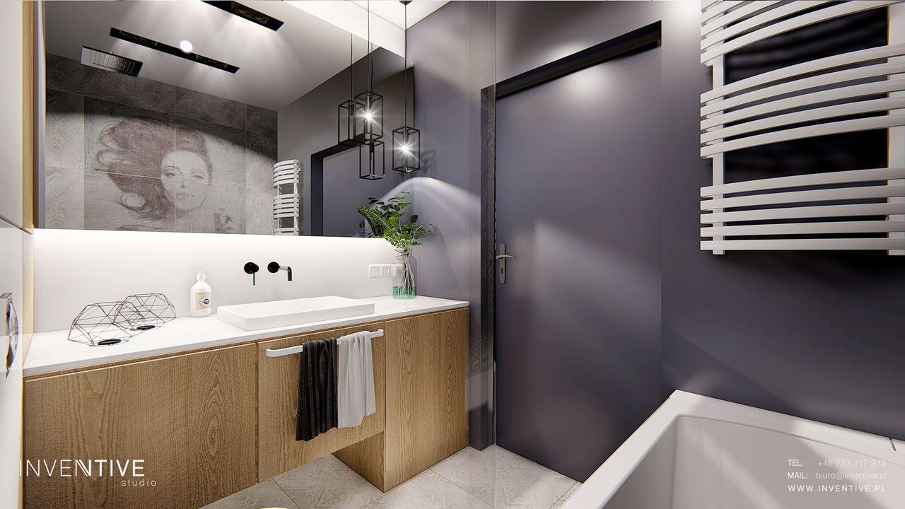 Aranżacja modnej łazienki z fioletową ścianą