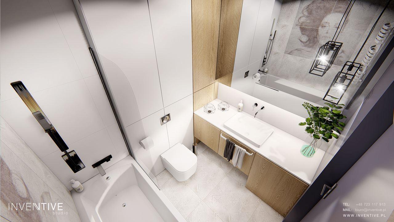 Aranżacja modnej łazienki z lampami wiszącymi