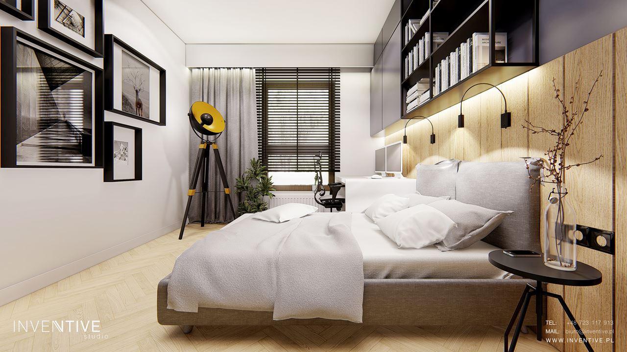 Sypialnia z designerska lampą stojącą
