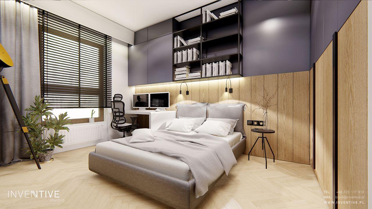 Sypialnia z czarnymi żaluzjami na oknie