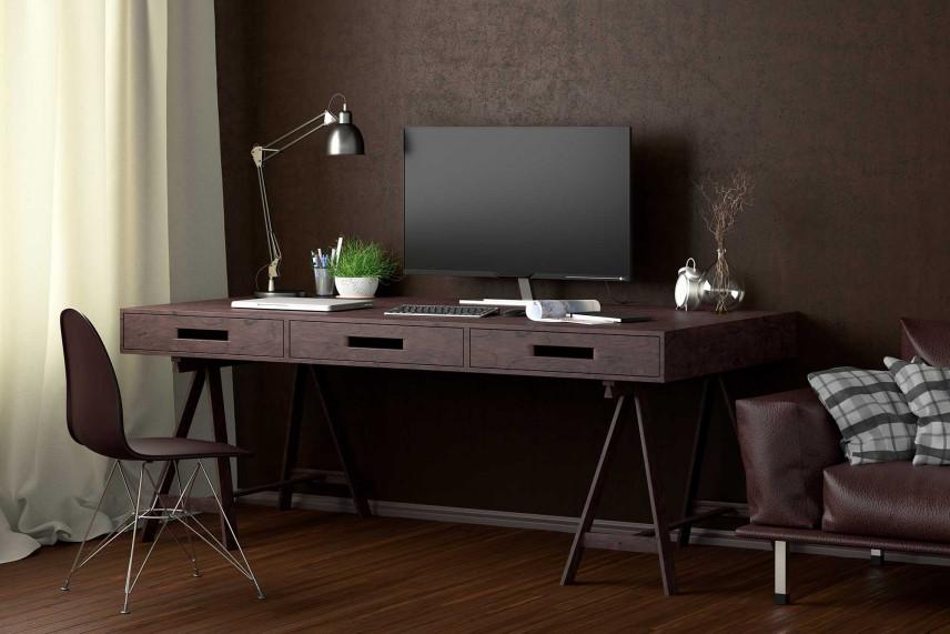 Ciemne, nowoczesne biuro w domu