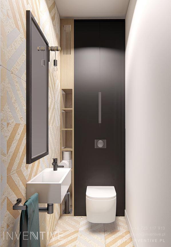 Wąska łazienka z toaletą