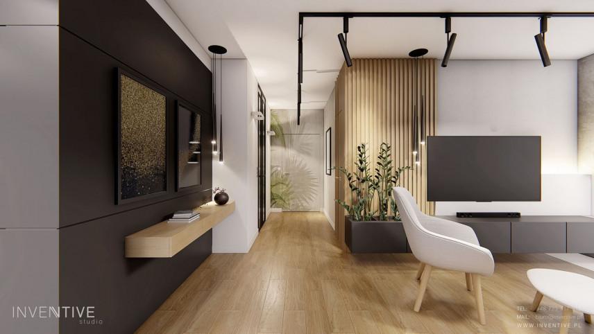 Mały salon w stylu skandynawskim z telewizorem