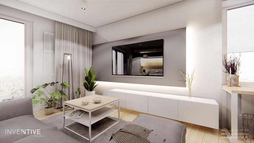 Salon z narożnikiem i telewizorem