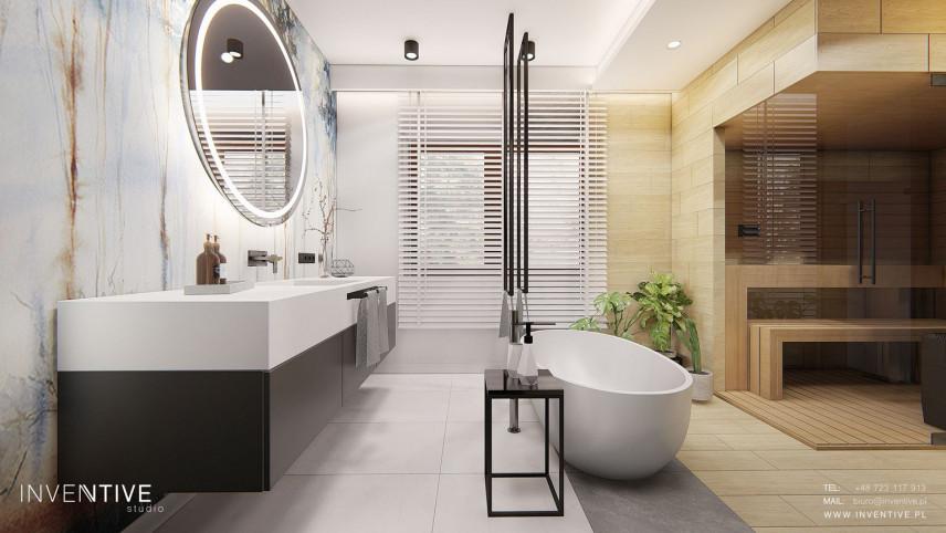 Nowoczesna łazienka z grafiką i sauną