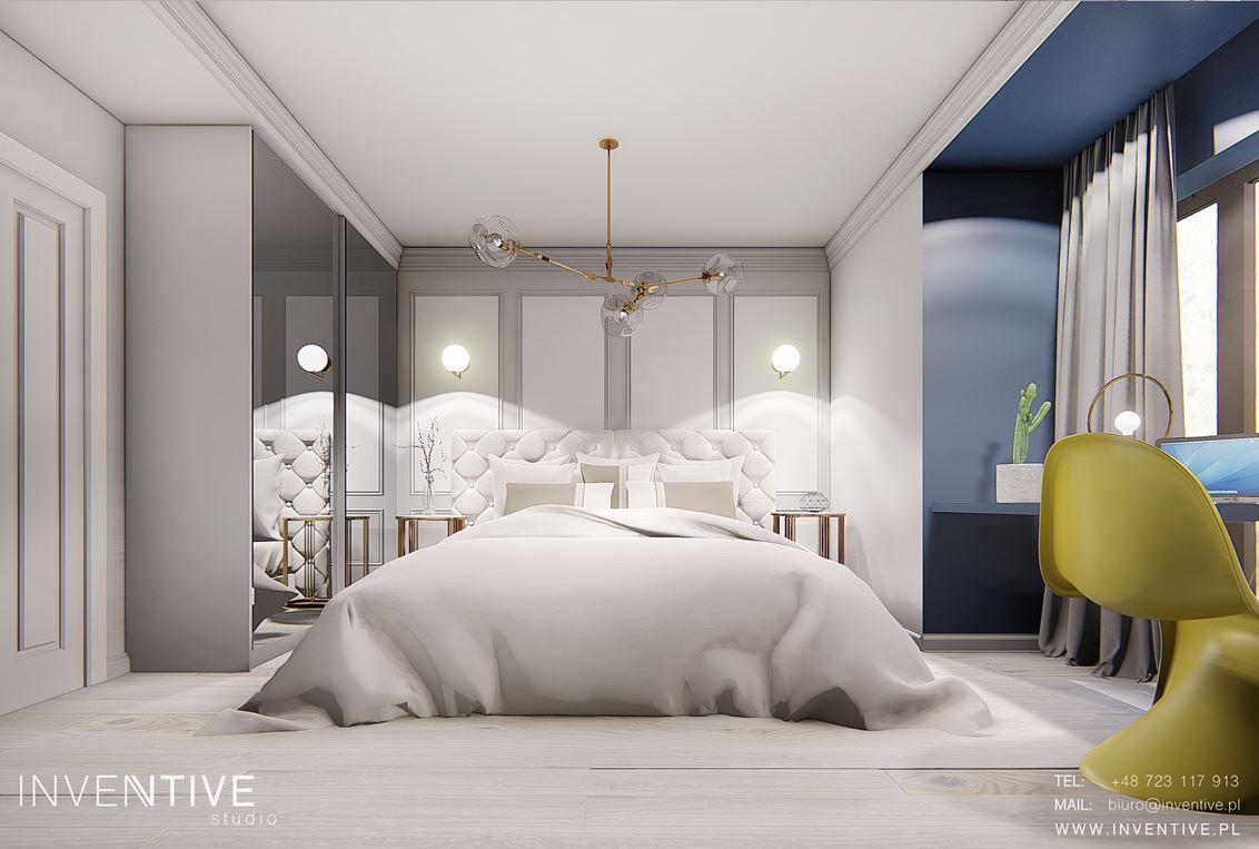 Szaro-granatowa sypialnia w stylu Art Deco
