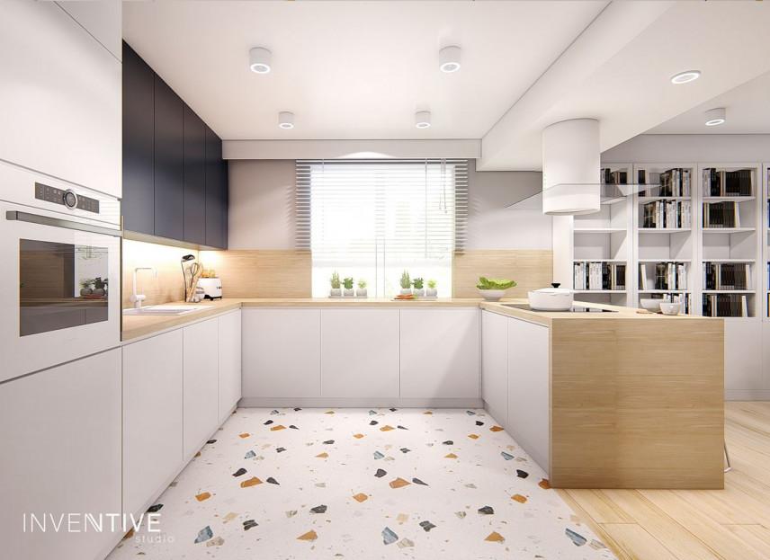 Biała kuchnia z podłogą w kolorowy miks