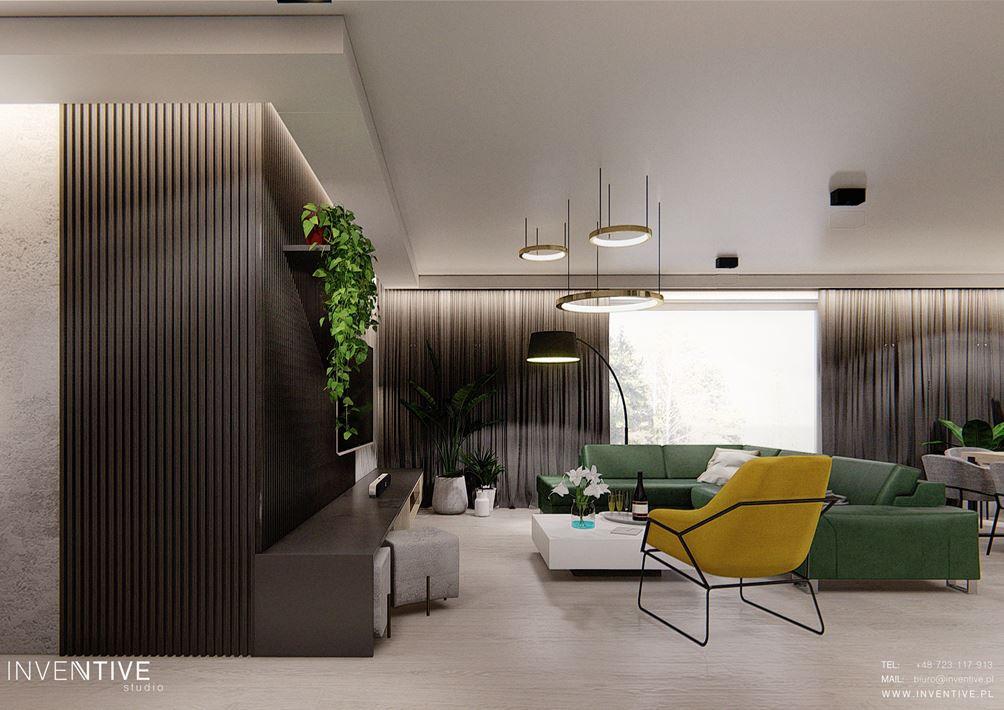 Nowoczesny salon z zielonym narożnikiem