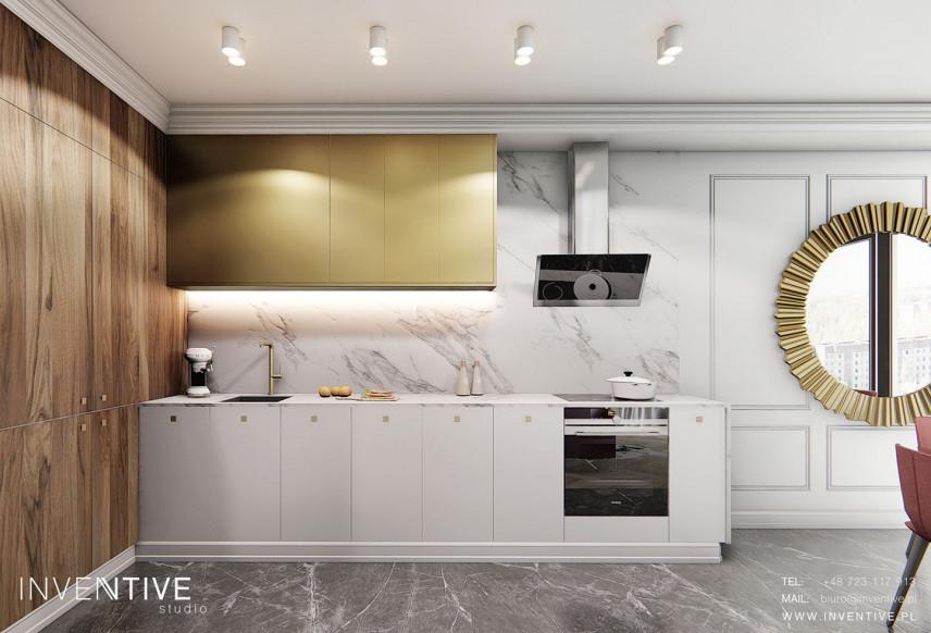 Aneks kuchenny w kolorze biało-złotym