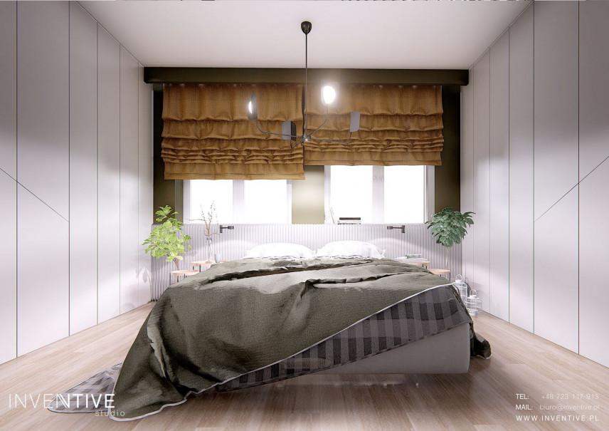 Sypialnia z ozdobnymi rzymskimi roletami