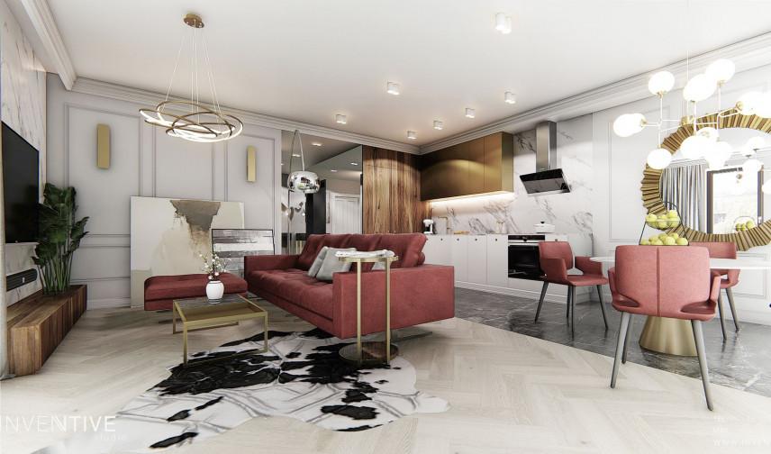 Salon w aranżacji Art Deco