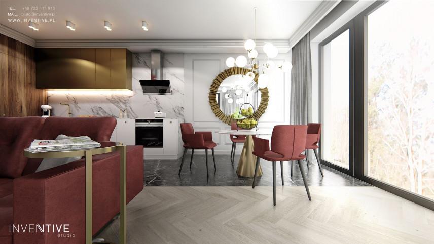 Jadalnia z salonem i aneksem kuchennym w stylu Art Deco