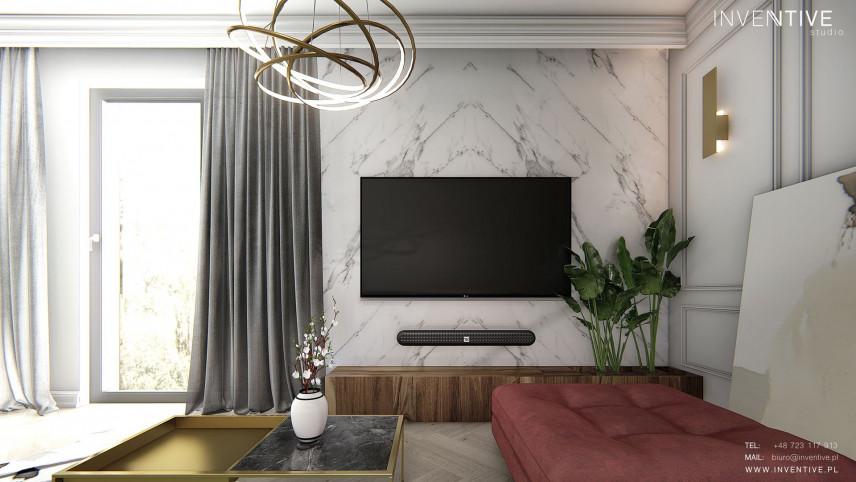 Salon w stylu Art Deco z telewizorem
