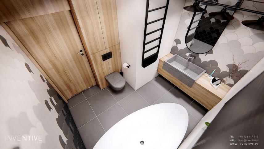 WIdok z góry na łazienkę z owalną wanną