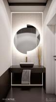 Mała łazienka z podświetlanym lustrem