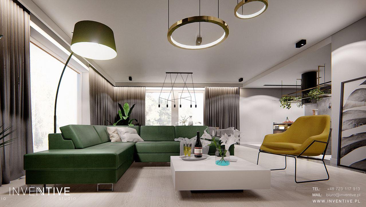 Salon z zielonym narożnikiem