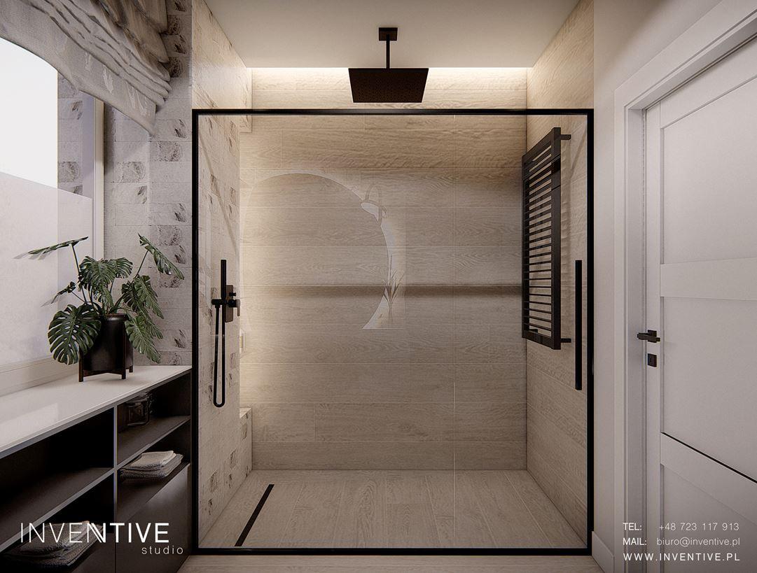 Łazienka z dużym prysznicem typu walk-in
