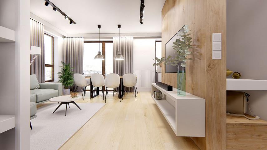 Salon z jadalnią ze ścianą z drewna