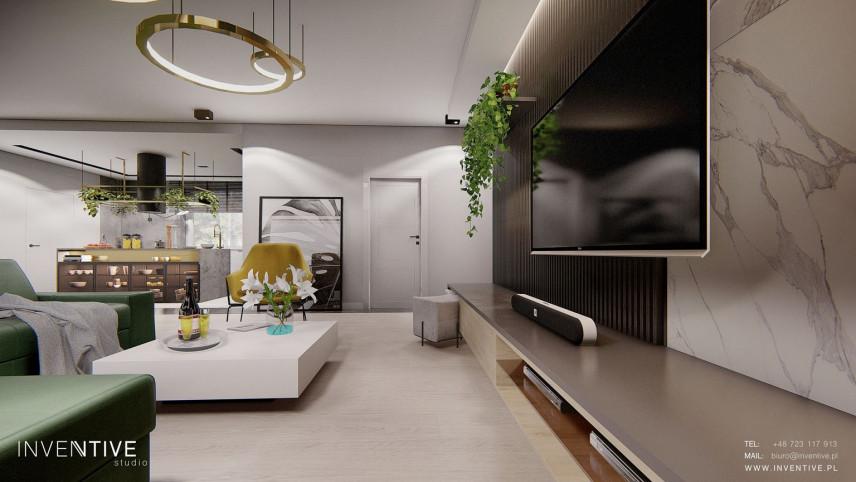 Przestronny salon z telewizorem w stylu Art Deco